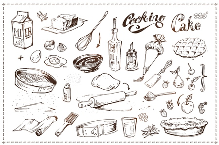 Hand drawn ink sketch icons set on the culinary theme - kitchen utensils, fruits and pastry. Cooking cake illustration. Vintage doodles isolated on white background for menu design