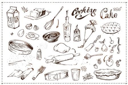 Icone disegnate a mano di schizzo di inchiostro impostate sul tema culinario - utensili da cucina, frutta e pasticceria. Illustrazione della torta di cottura. Scarabocchi vintage isolati su sfondo bianco per il design del menu