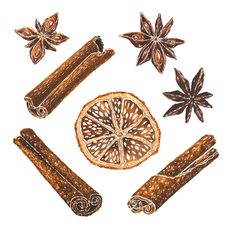 Anise stars, dried orange slice and cinnamon watercolor illustration. Hand drawn aniseed, citrus, aroma sticks art isolated on white background. Christmas decoration elements set for kitchen or menu Stock Photo