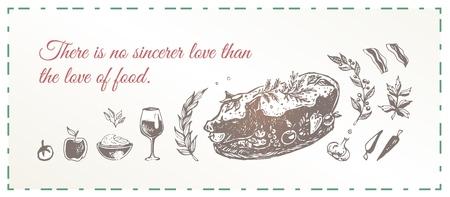 Grilled suckling pig with seasoning and vegetables. Vintage food poster design. Hand drawn vector illustration for restaurant menu or cookbook