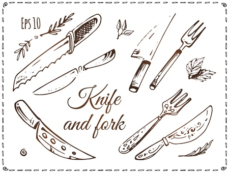 Set of knives and forks vector illustrations. Hand drawn sketches of cutlery isolated on white background. Vintage kitchen silverware doodles collection. Illustration