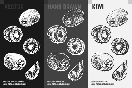 Hand drawn kiwi icons set isolated on white, gray and black chalk background. Sketch of exotic fruits for packaging and menu design.