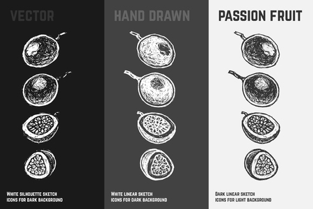 Hand drawn passion fruit or maracuya icons set isolated on white, gray and black chalk background. Sketch of exotic food for packaging and menu design.