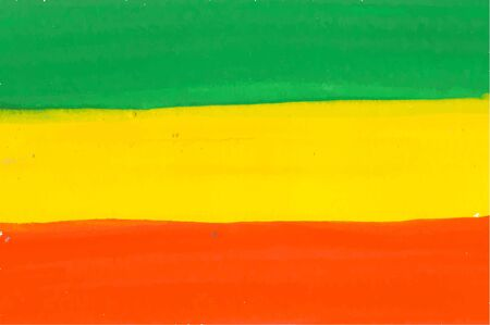 Rastafarian and Ethiopian flag drawn by watercolor paint, vector background with tricolor - red, yellow and green colors. Cannabis legalization and hippie lifestyle symbol concept.