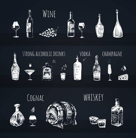 Bar menu design. Strong alcoholic drinks, wine bottle and wineglass, vodka shot, champagne, cognac and whiskey with ice vector icons. Vintage hand drawn sketch of beverages. Chalk vector illustrations
