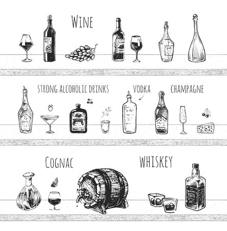 Bar menu design. Strong alcoholic drinks, wine bottle and wineglass, vodka shot, champagne, cognac and whiskey with ice vector icons. Vintage hand drawn sketch of beverages. Doodle vector art on white