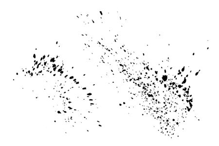Black paint splatter set isolated on white background. Water splash silhouette vector texture overlay.