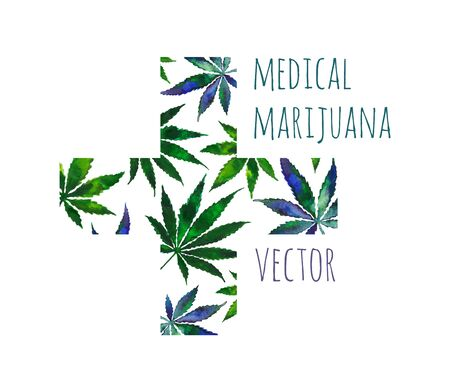 Cross with green watercolor leaves of cannabis. Vector banner design for medical marijuana store