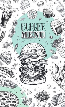 Burger menu. Vintage template with hand drawn sketches of hamburger and infographic with fast food ingredients. Engraving style vector icons - pizza, tacos, barbecue, beverages and sweets  イラスト・ベクター素材