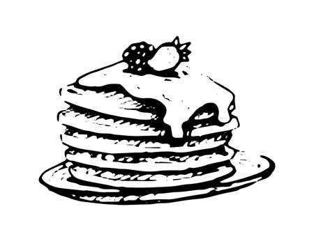 Pancakes with maple syrup vector doodle icon