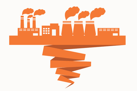 spoiling: Building of factories located on the ribbon spoiling ecology Illustration