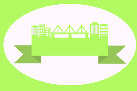 Green street with a bridge on the ribbon Vector