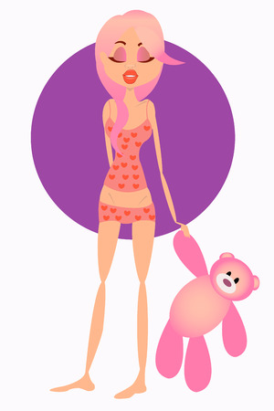 Girl in pajamas holding a pink bear Vector