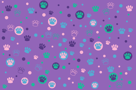 Colorful animal footprint on a purple background
