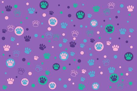 Kleurrijke dierlijke voetafdruk op een paarse achtergrond