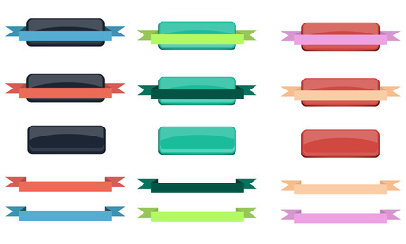 Set of buttons with ribbons for decoration website Vector