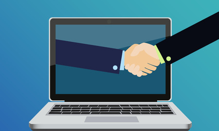 Online deal. Handshake of two business people in suits