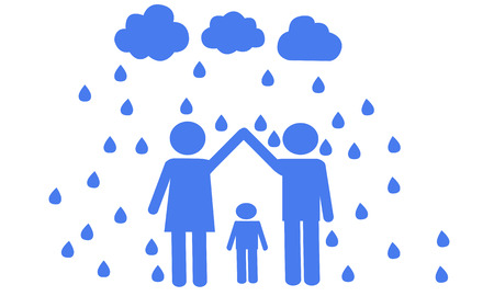 child protection: Caring parents about the child and protection issues. The concept of family Illustration