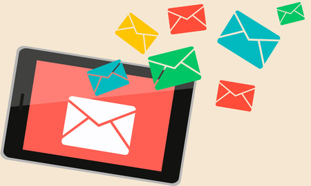 On the tablet was sent a new message. Envelope symbol. Vector illustration Vector