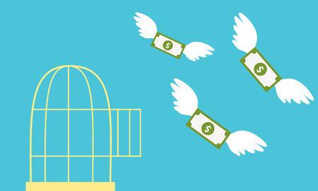 dinero volando: Dinero gratis. Jaula abierta con el dinero del vuelo. Concepto de negocio.