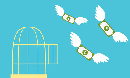 bird cage: Free money. Open cage with flying money. Business concept.