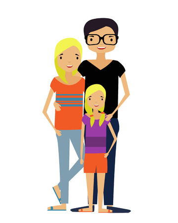 Modern family. The mother and father and their baby are hugging. Vector illustration.