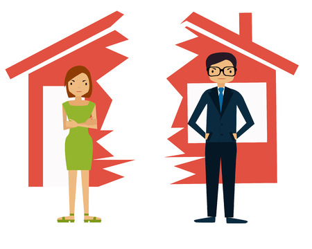 Divorce. Man and woman divide house. Vector illustration