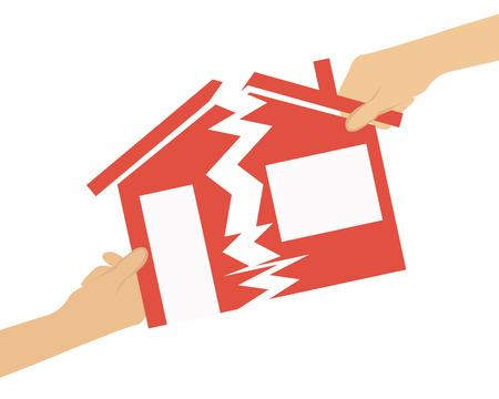 conflicto: Herencia. Gente dividen la casa en medio. Ilustración vectorial