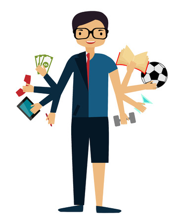 Time management. A man in a suit doing several things at once. Vector illustration Vector