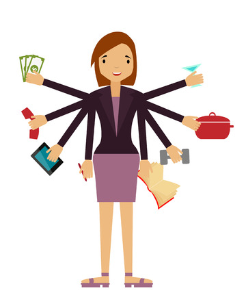 Time organization. Business woman doing several things at once. Vector illustration Vector