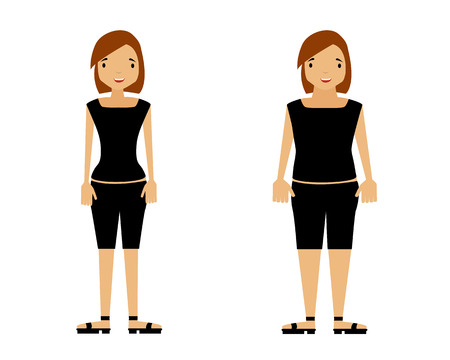 thin woman: Thick and thin woman on a white background. Vector illustration Illustration