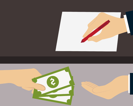 giving money: Bribe. Man giving money to the person who signs the document. Vector illustration Illustration