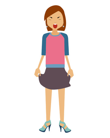 hysterical: Hysterical. A woman in a skirt and in heels screams. Vector illustration