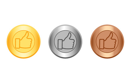 medal like: Medal gold, silver and bronze with icon like.