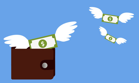 expenditure: Cash expenditure. Wallet with money fly away. Business concept