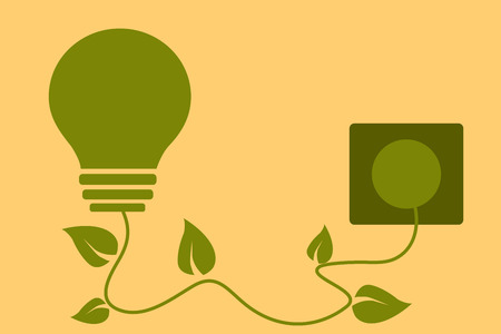plugged: Green energy concept. Light bulb with leaves plugged in. Vector illustration. Illustration