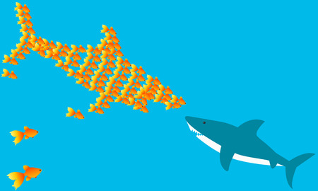 Strong team. A flock of goldfish against sharks. Vector illustration