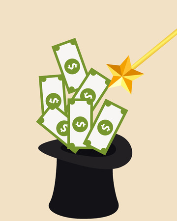 wizard hat: Money and Magic. Wizard Hat and magic wand. Vector illustration