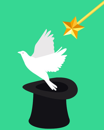 wizard hat: Magic and dove. Wizard hat and magic wand. Vector illustration