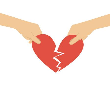 break in: Break off relations. Hands divided heart in half. Vector illustration