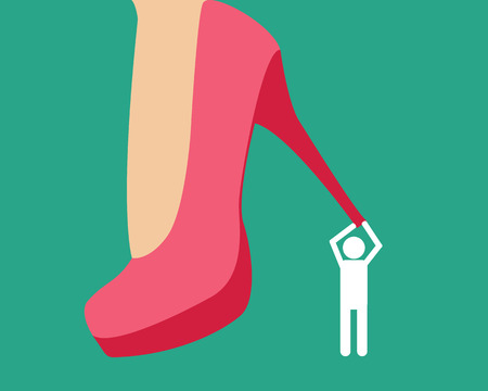 henpecked: Henpecked. Man under a female heel. Vector illustration