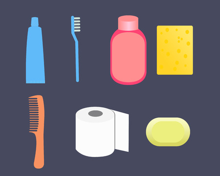 toiletry: Set toiletries. Toothpaste, shampoo, washcloth, comb, toilet paper, soap. Vector illustration