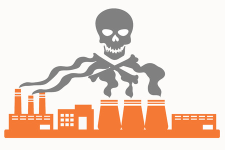 harmful to the environment: Air pollution. Plant with smoke in the shape of the skull. Vector illustration Illustration