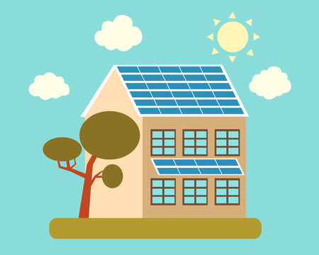 panels: House with solar panels on the roof and a tree. Vector illustration