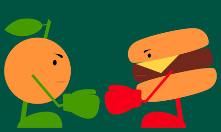 food fight: Food fight. Healthy lifestyle concept. Vector illustration