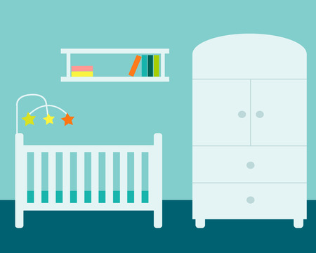 Nursery Room With Wardrobe Cradle And Bookshelf Vector Illustration Stock