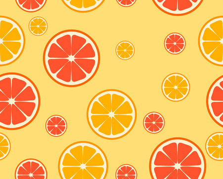 Bright orange and grapefruit background. Pieces of fruit. Vector seamless pattern