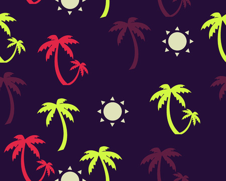 Palm trees and sun background. Vector seamless pattern Vector