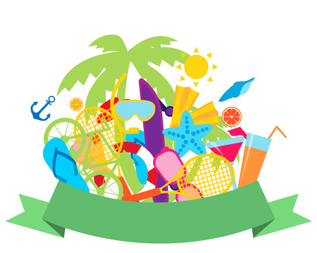 Concept of summer vacation. Sports and beach accessories. Vector illustration Vector