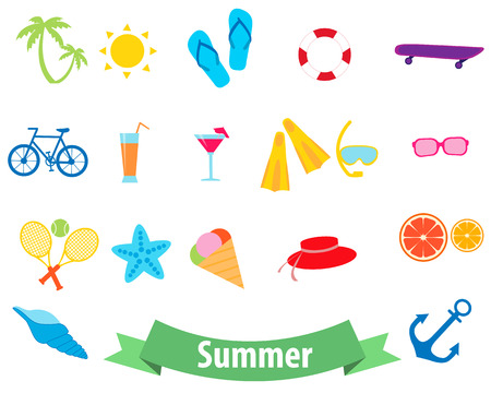 Summer icon set. Sports and beach accessories. Vector illustration Vector